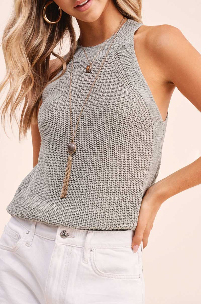 Seafoam Knit Halter Top