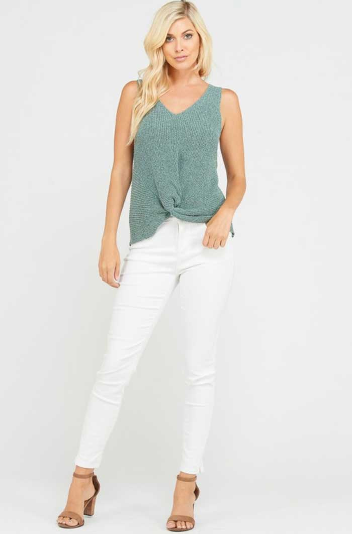 Sage Twist Front Sleeveless Sweater - Jade Creek Boutique