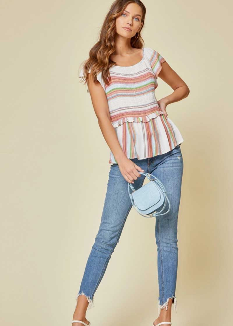 Fiesta Striped Flutter Top