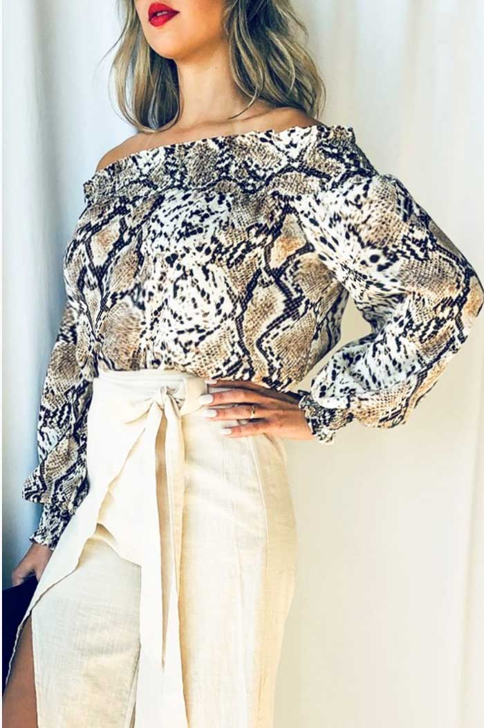 Snake Print Off Shoulder - Jade Creek Boutique