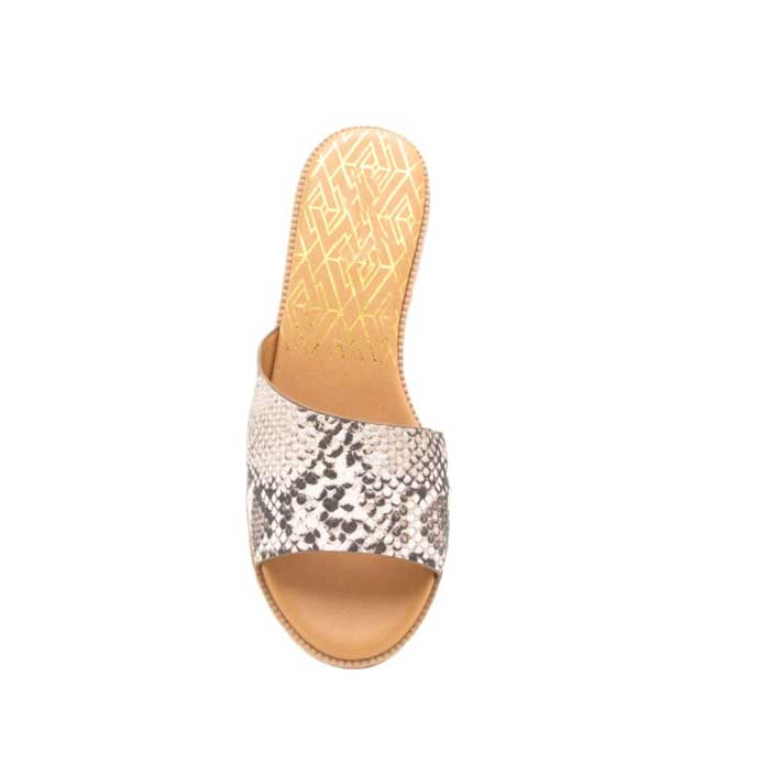 Snakeskin Asymmetrical Slide Sandal - Jade Creek Boutique