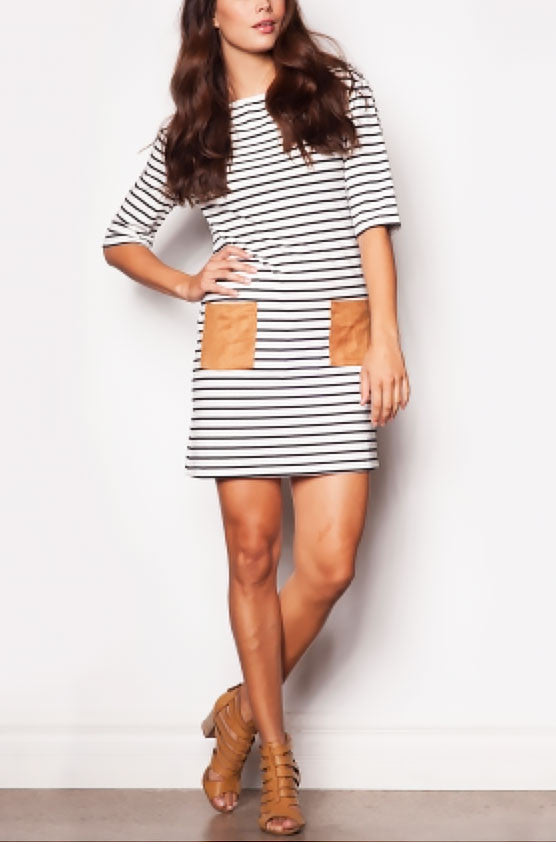 Striped Suede Pocket Dress - RESORT COLLECTION - Jade Creek Boutique