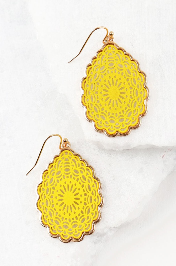 Summer Yellow Laser Cut Earrings - Jade Creek Boutique