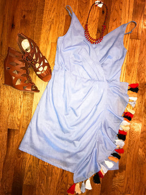 Tiny Tassels Chambray Dress - RESORT COLLECTION - Jade Creek Boutique