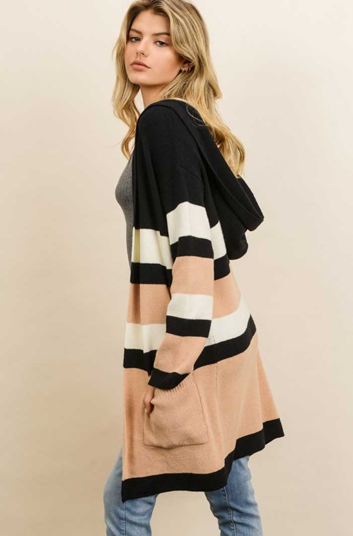 Hooded Color Block Cardigan