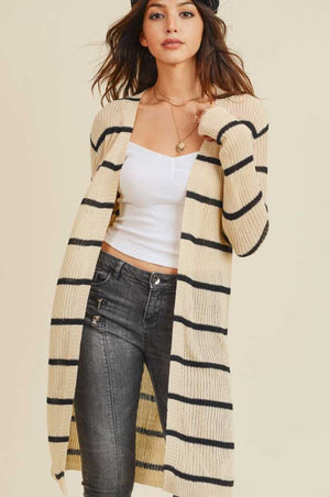 Taupe Black Striped Cardigan - Jade Creek Boutique