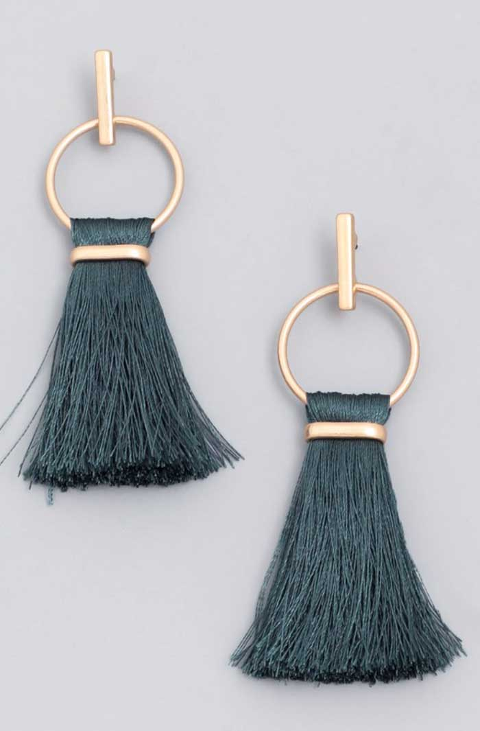 Deep Teal Green Tassel Earrings