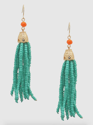Teal Orange Beaded Earrings - Jade Creek Boutique