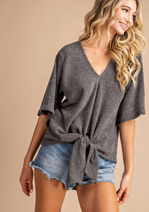 Olive Tie Front Knit Top - Jade Creek Boutique