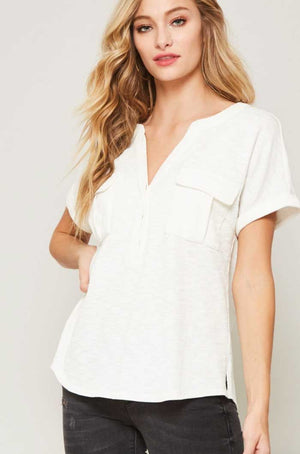 Off White Military Top - Jade Creek Boutique