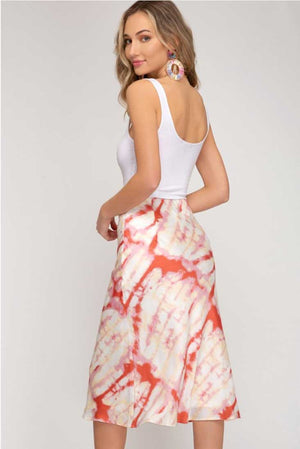 Tie Dye Red Splash Midi Skirt