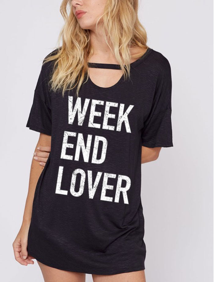 Weekend Lover Choker Tee - Jade Creek Boutique