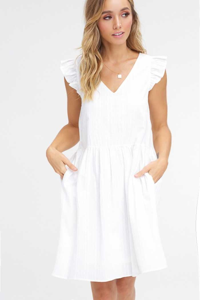 White Bohemian Babydoll Dress - Jade Creek Boutique