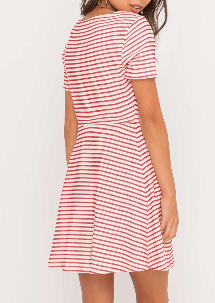 Ivory Red Stripe Button Dress - Jade Creek Boutique