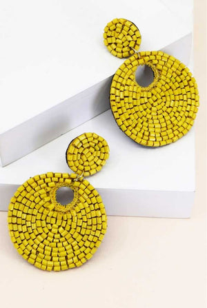 Beaded Circular Earrings, Two Colors - Jade Creek Boutique