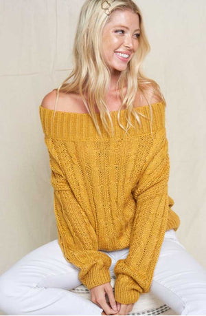 Mustard Off Shoulder Sweater - Jade Creek Boutique