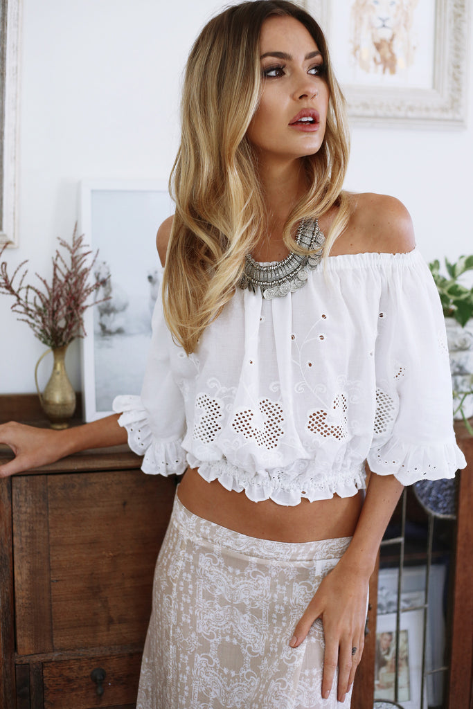 Crazy Love Feature Off Shoulder Lace Midi