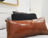 Patched Leather Cushion Cover Rectangle