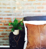 Patched Tan Leather Cushion Cover