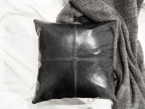 Patched Black Leather Cushion Cover