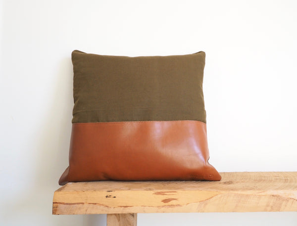 Linen & Leather Patched Cushion Cover