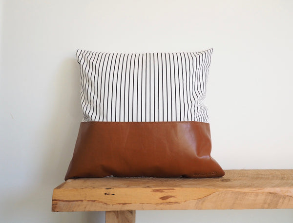 Striped Patched Leather Cushion Cover