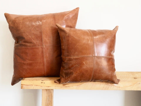 Large Patched Tan Leather Cushion Cover - PRE ORDER