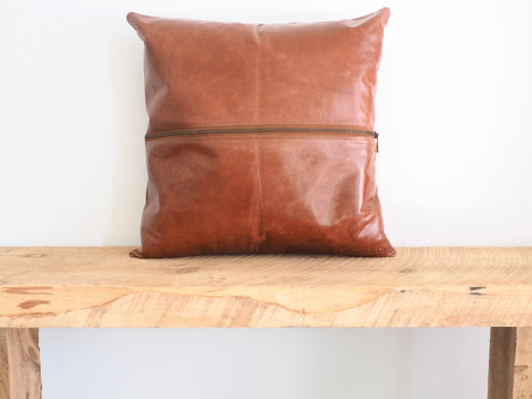 Zipped Leather Cushion Cover Tan