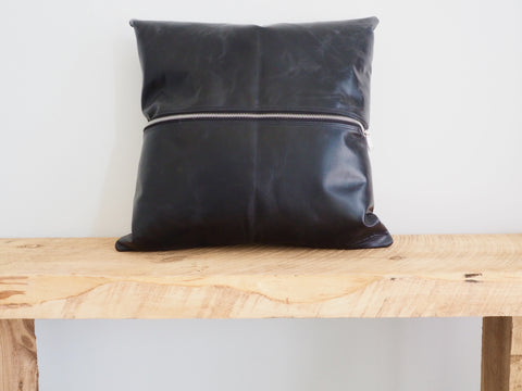 Zipped Leather Cushion Cover Black