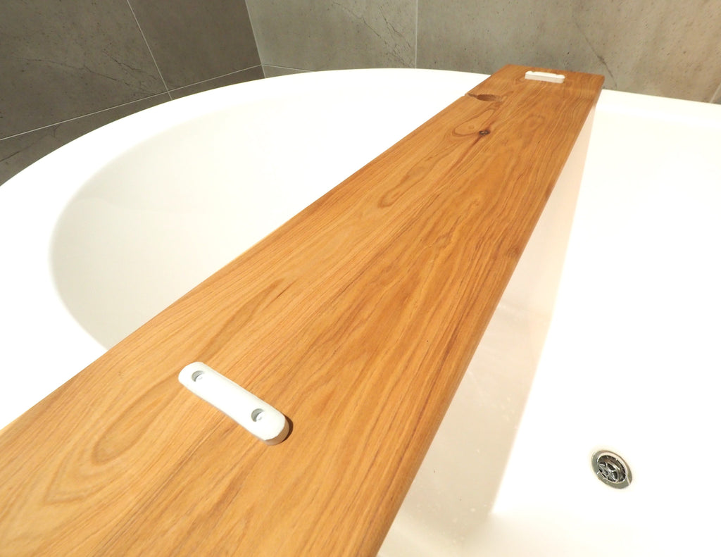 Rustic Timber Bath Caddy Handmade with Wine Glass Holder – Brodie ...