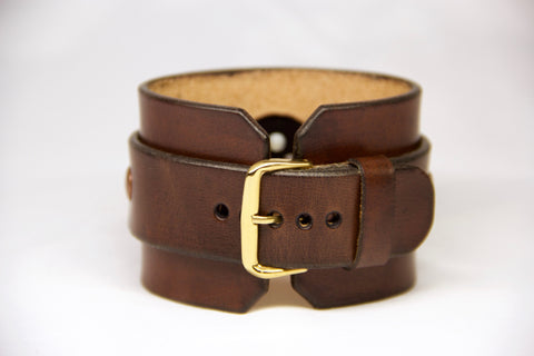 Hand Made Brown Leather Cuff for Apple Watch