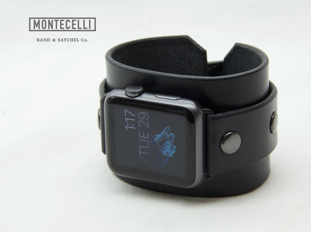 (Tailored to Fit) Black Apple Watch Leather Cuff