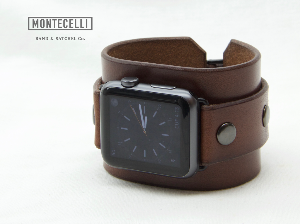 (Tailored to Fit) Brown Apple Watch Leather Cuff