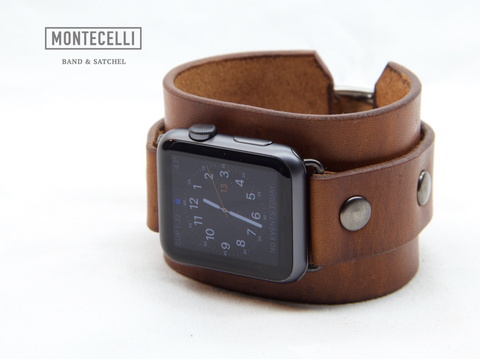 Montecelli Hand Made Light Brown Leather Cuff Band