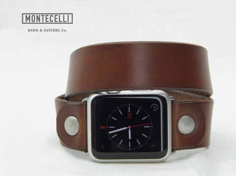 Hand Made Brown Leather Wrap Band for Apple Watch