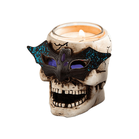 Cypress LED Skull Tealight Holder with Glitter (Set of 2)