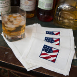 Leron Linens Old Glory Cocktail Napkins
