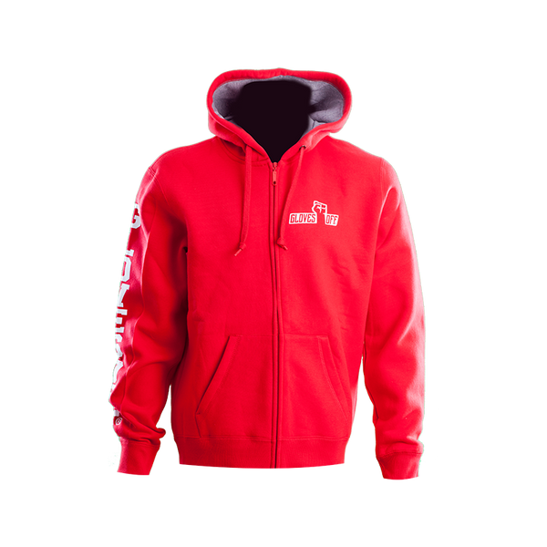 ZIPPED CHUNKY HOODIE RED & WHITE