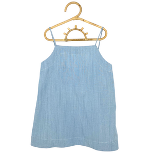 Daisy Kids Label Linen Strap Dress - Chambray