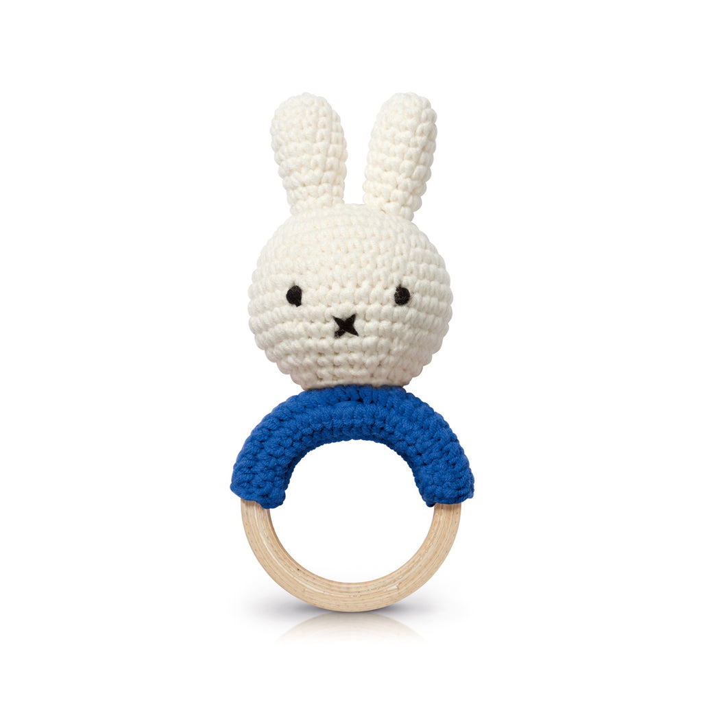 Just Dutch Miffy Handmade Teether Rattle - Blue