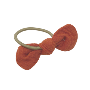 Daisy Kids Label Bow Hair Elastic - Rust Linen