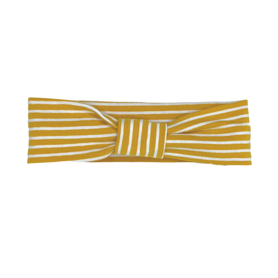 Daisy Kids Label Head Band - Mustard/White Stripe