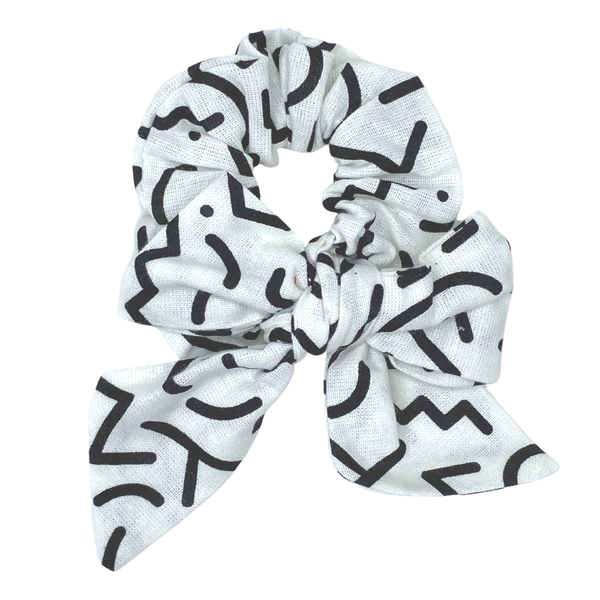 Daisy Kids Label Bow Scrunchie -  Squiggle