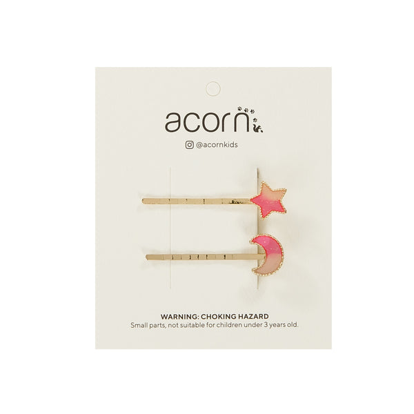 Acorn Kids Stars and Moons Clips - Pink