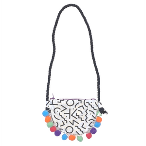 Daisy Kids Label Squiggle Print Pom Pom Bag