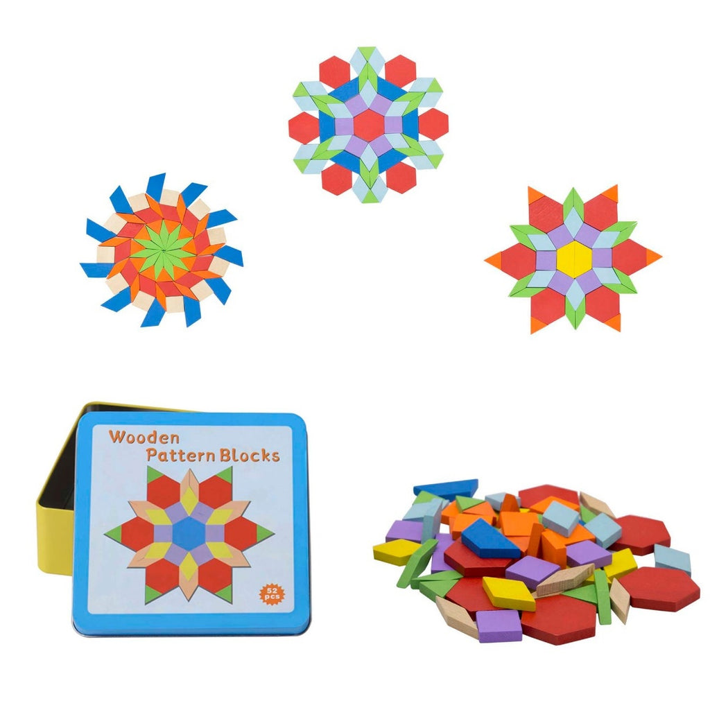 Wooden Pattern Blocks in Tin