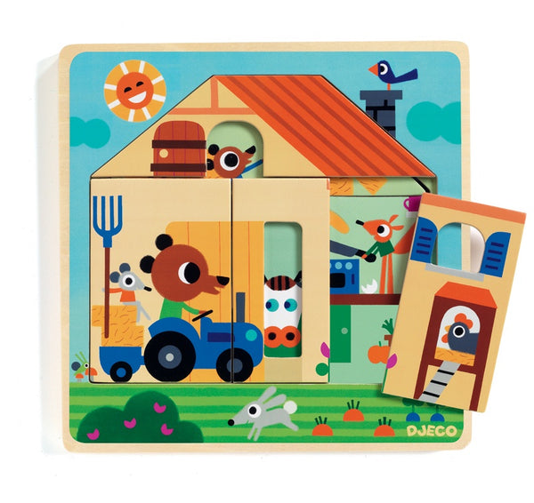Djeco Chez Gaby Barn 3 Layer Wooden Puzzle