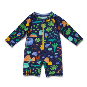 Halcyon Nights Beach Forest Baby Swim Long Sleeve Short Suit