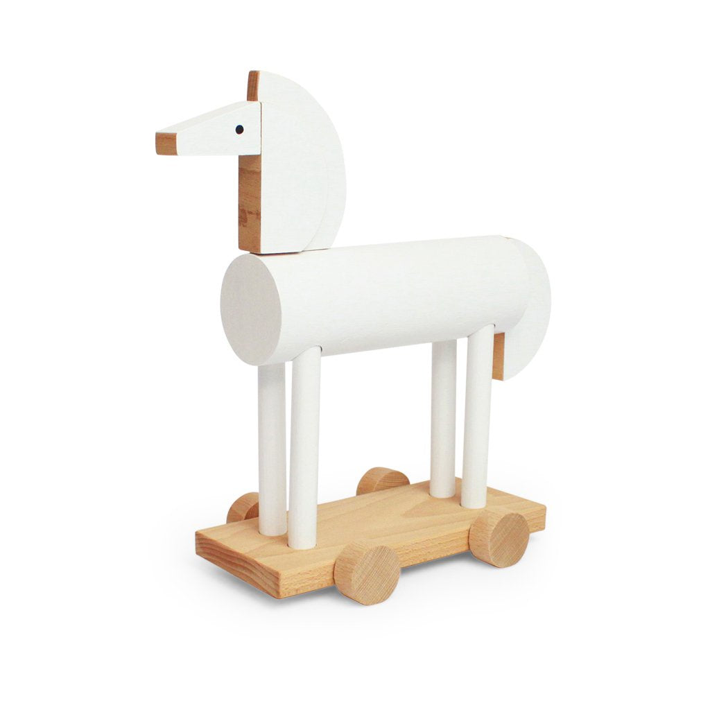 Kutulu Wooden Push Along Horse - White