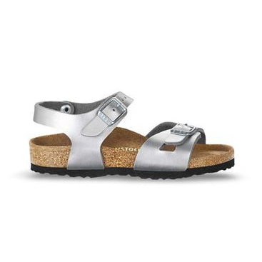 Birkenstock Rio Kids Birko-Flor in Silver - Narrow